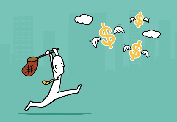 Cartoon man with net chasing after flying dollar signs.