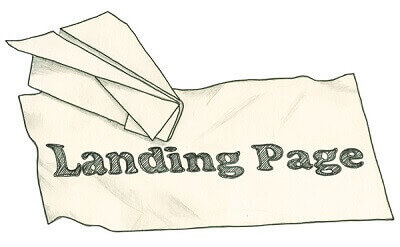 Graphic of a piece of paper with Landing Page written on it.