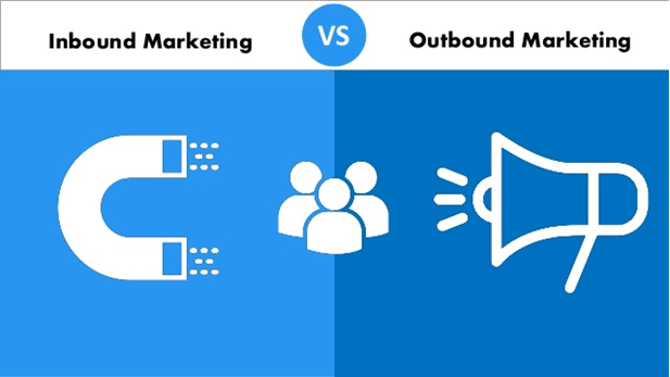 Inbound Marketing vs. Outbound Marketing icons on a blue background