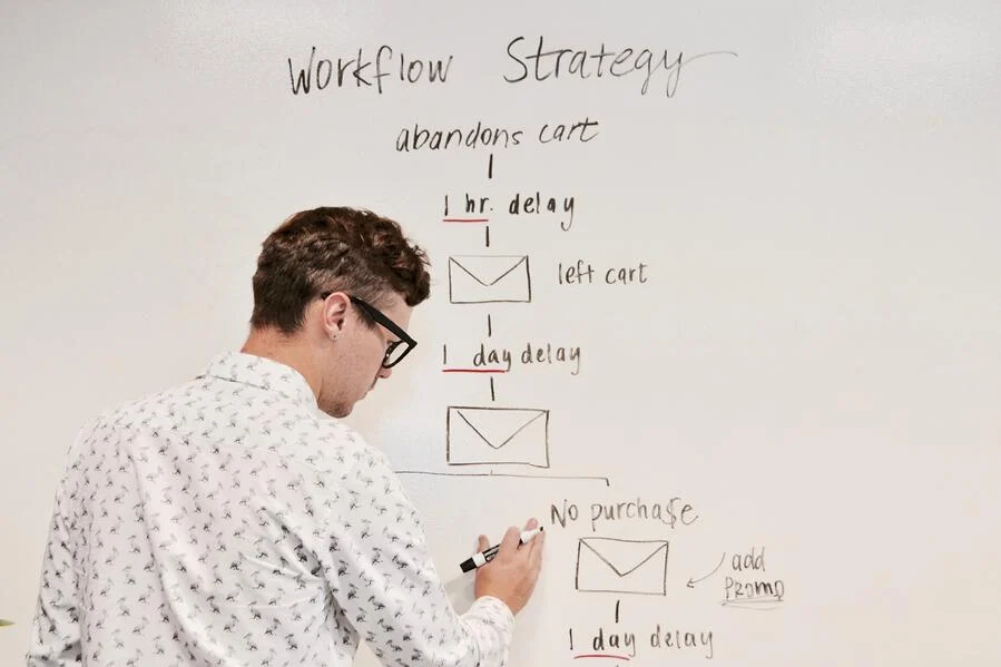 Man writing a workflow on a whiteboard.