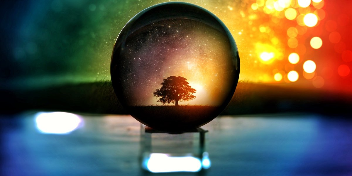 Crystal ball with a tree in the centre.