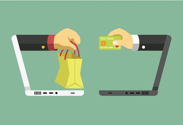 Two laptops facing each other, one with a hand with a shopping back coming out, the other hand holding a credit card.